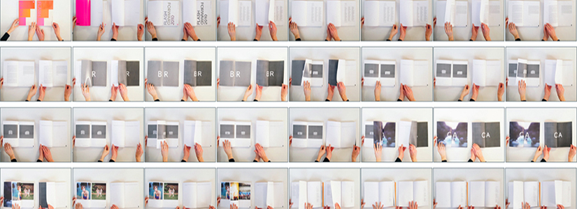 composite image of hands in front of printed pages