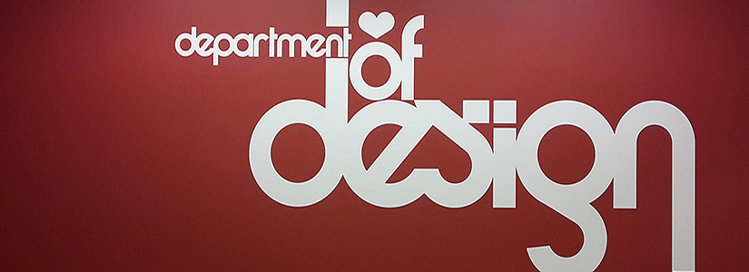image of 'department of design' painted on a wall