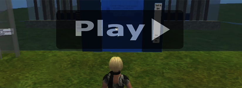 screen shot of an animation superimposed by the word Play and a right-facing triangle